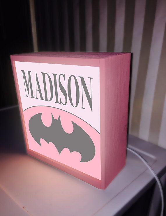 Pink Batman girl table top night light night by DreamGlowLightbox