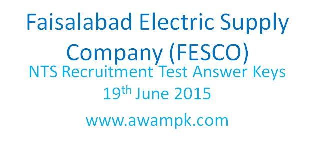 Faisalabad Electric Supply Company (FESCO) NTS Answer Keys on 19th June 2015