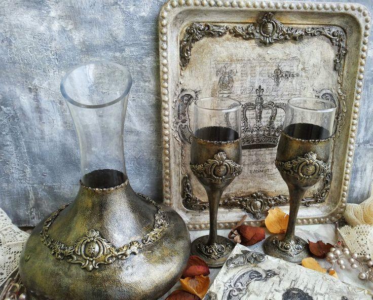 Martinel: Золотые старинные набор стекло - Античный оправленные в золото