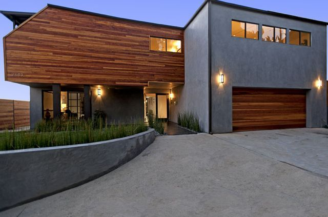 Beautiful modern style home redwood and stucco siding for Redwood siding cost