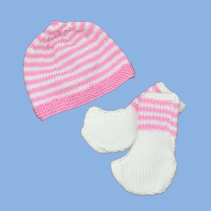 Hand knitted premmie hat/beanie and booties set.  Available in 3 sizes:  up to .91kg,  up to 1.36kg   1.8-2.7kg     http://premmieto2.com.au/product/premature-baby-clothes-striped-beanie-booties-pinkwhite/
