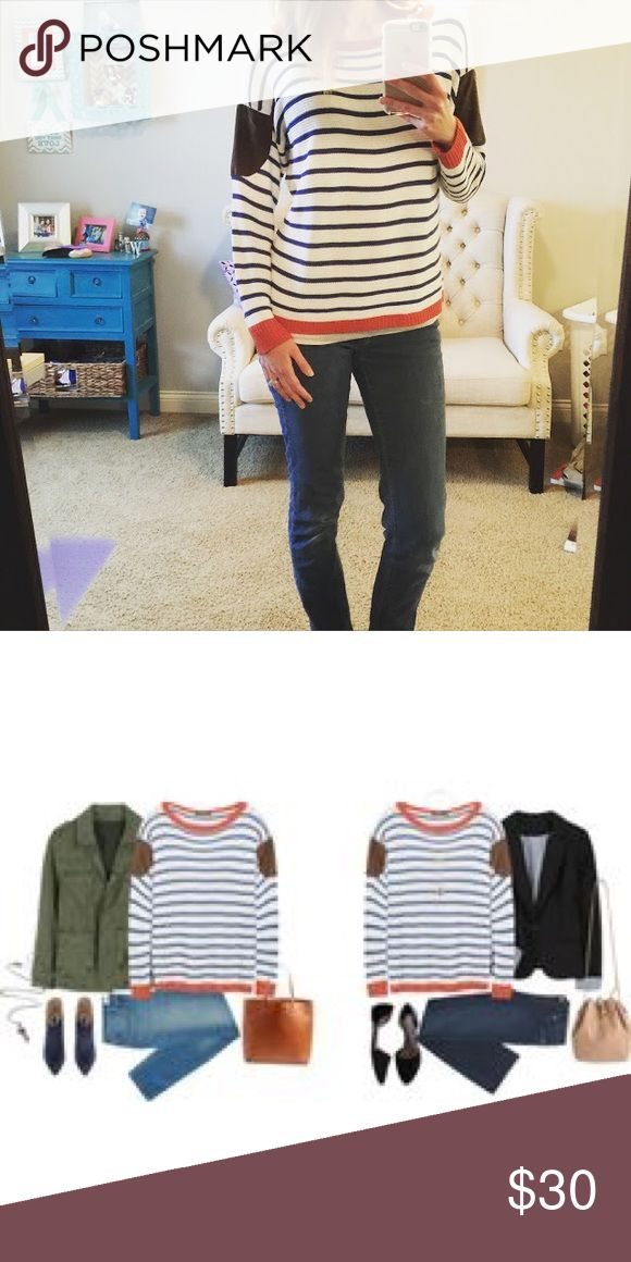 Stitch Fix Lemontart Kienna Patch Pullover EUC! Not Madewell, brand exposure. From Stitch Fix, fun casual Knit pullover sweater ! First photo is not actual sweater but similar style . Elbow patches are best reflected in last photo Madewell Tops