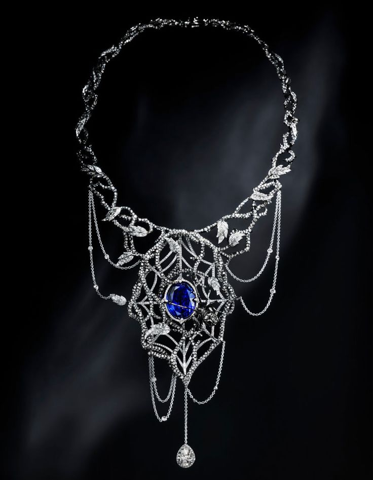 Jack du Rose Black Widow necklace in white gold, black, white and grey diamonds, tanzanite and enamel.