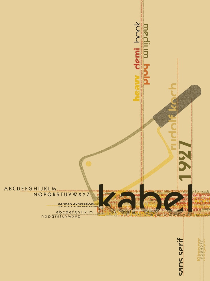 kabel - one of my favorite typefaces + + + #78 http://www.100besttypefaces.com/78_Kabel.html#a78