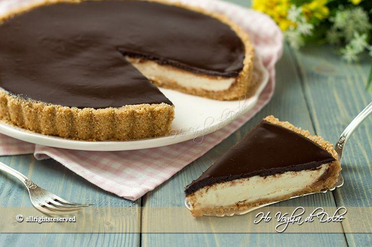 Crostata mascarpone e cioccolato senza cottura, facile e veloce. Ricetta senza forno, ideale d'estate