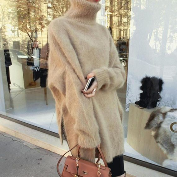 New genuine mink cashmere sweater women long cashmere