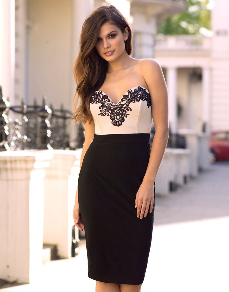 Lipsy Contrast Body Strappy Pencil Dress