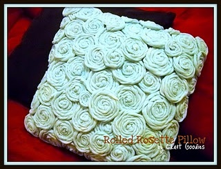 Love this rosette pillow...made from old t-shirts so I'm sure it's super comfy!