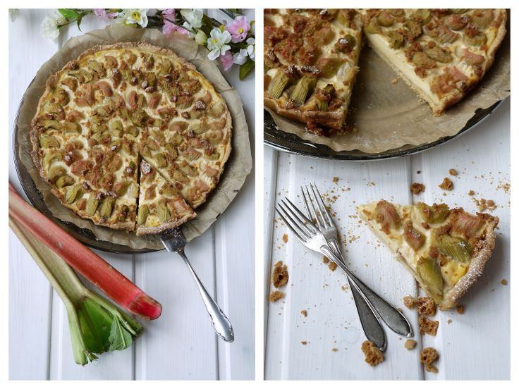 Rhabarber-Pudding-Tarte mit Amarettini