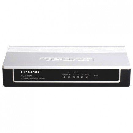TP-Link TL-R402M 4-Port Cable DSL Router  Create a wired network in your home using the 4-Port Cable/DSL Router (TL-R402M). Connect this Wired Router to a broadband modem and share your high-speed Internet access, check email, share files, and enjoy online gaming. It connects to the Internet automatically or on demand and disconnects when idle to save on network costs. Quick Setup Wizard is supported and friendly help pages are provided for every step.  The built-in 4-port switch provides…