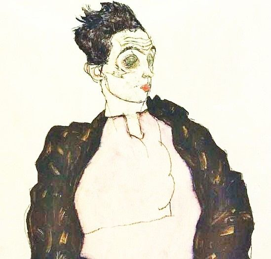egon schiele I890 self portrait with violet shirt (detail) collection art dessin drawing