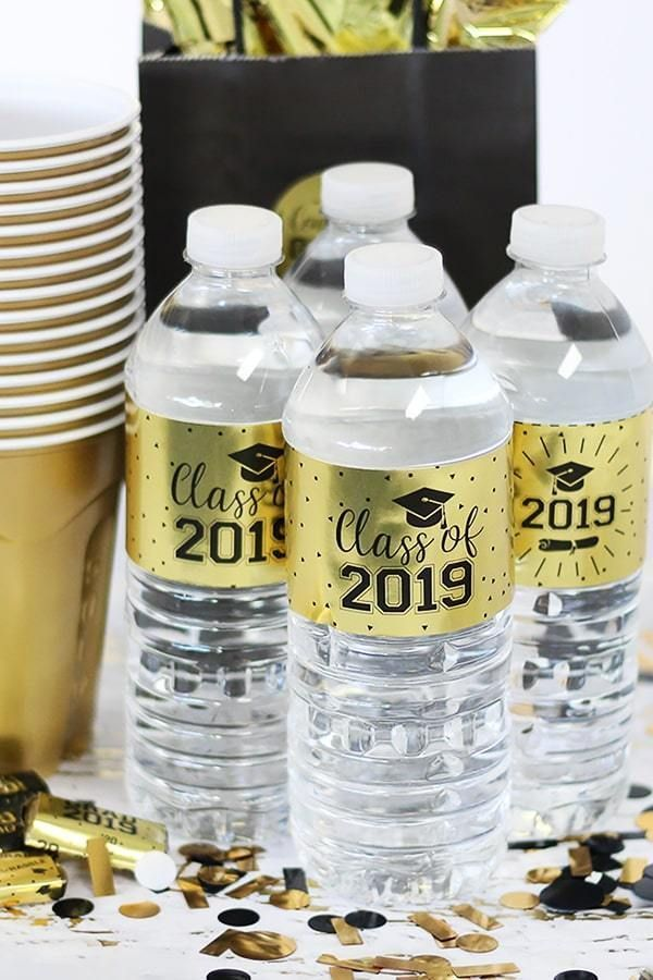 Gold Graduation - 2019 Grade Party Water Bottle Labels on Gold Foil - 24 Count