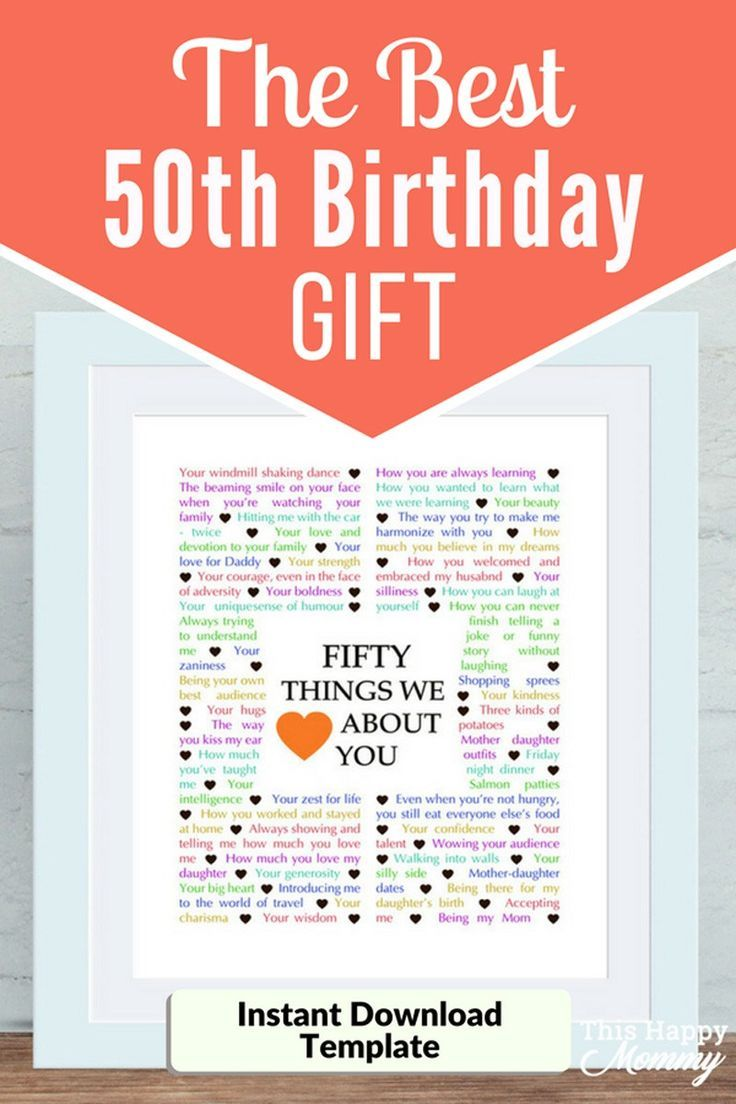 50 Things We Love About You The Best Homemade 50th Birthday Gift