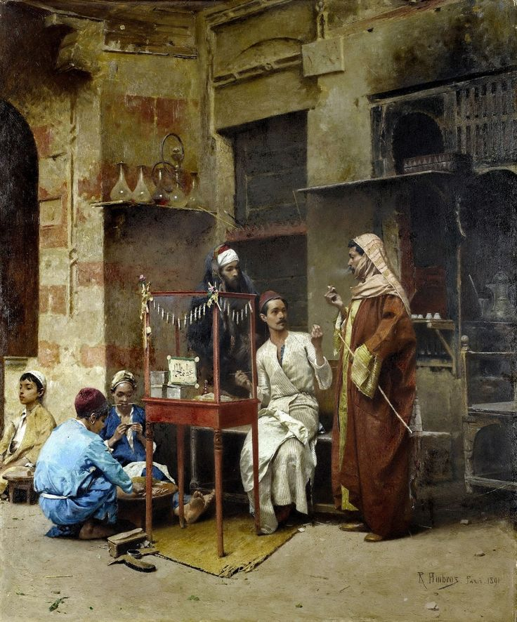 Egypt , Old Cairo Paintings: Raphael von Ambros (Austrian ,1855 -1895) - The tobacco seller, Cairo 1891