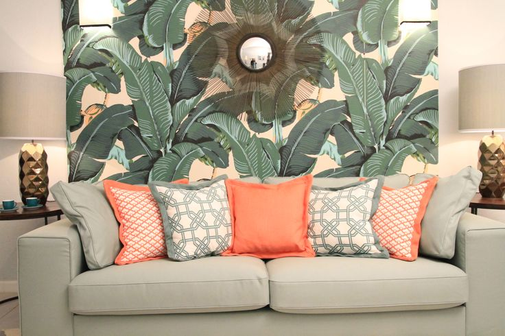 Tropical House Project by Ana Antunes - for Tv Makeover Show - Martinique Wallpaper, caitlin wilson fabrics, sun mirror