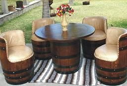 Wine Barrel Furniture - my aunt and uncle had a set of these at their cabin when I was young: