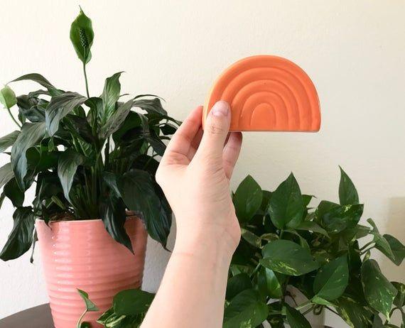 Orange Sherbet Rainbow Napkin Holder 1990s // Vintage Kitchen Dining Table serving decor // Similar