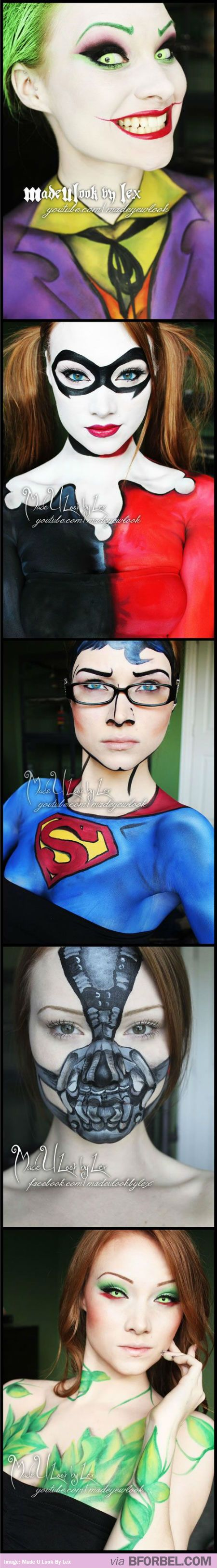 Crazy Awesome Face And Body Make Up Inspired By Superheroes And Villains…