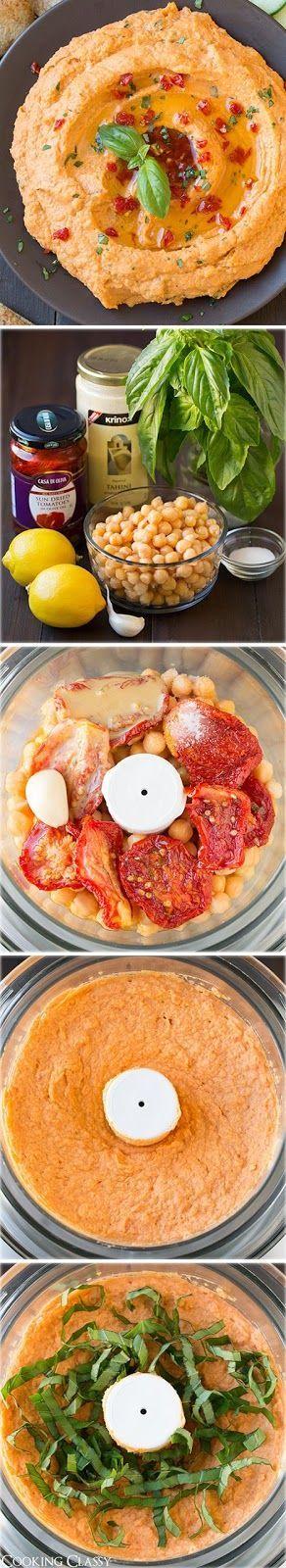 Ricette originali in una foto: hummus con ceci e pomodori secchi