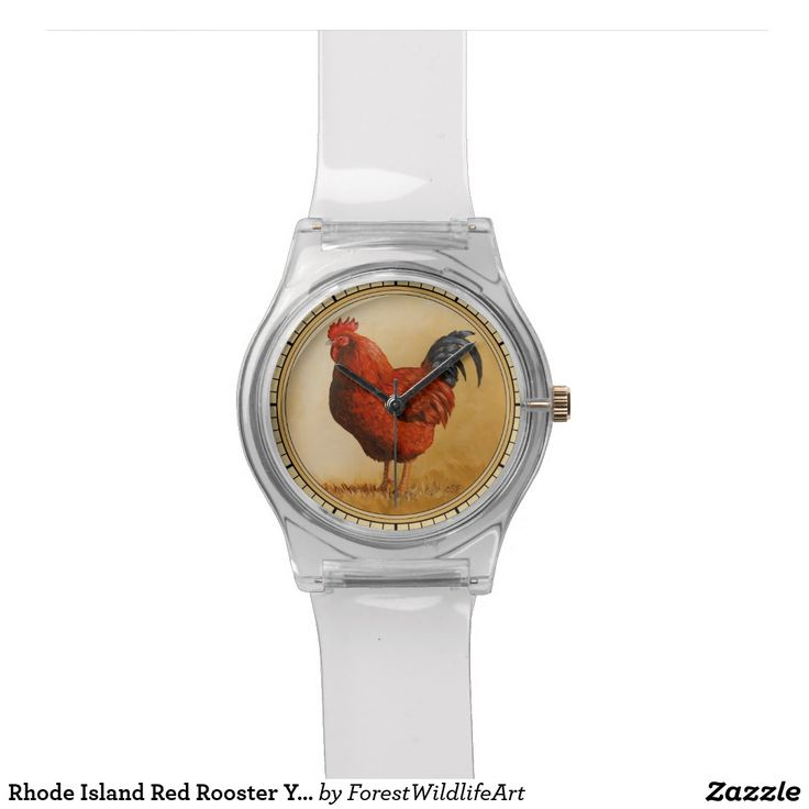 Rhode Island Red Rooster Yellow Background Wristwatches