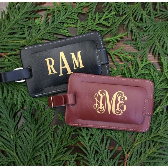 Personalized Leather Luggage Tags Our luggage tags make an excellent #gift for any traveler. They are top quality leather construction in Black or Brown with gold monogram.... #accessories #aluminum #bridesmaid #custom #engraved #graduation #present #travel