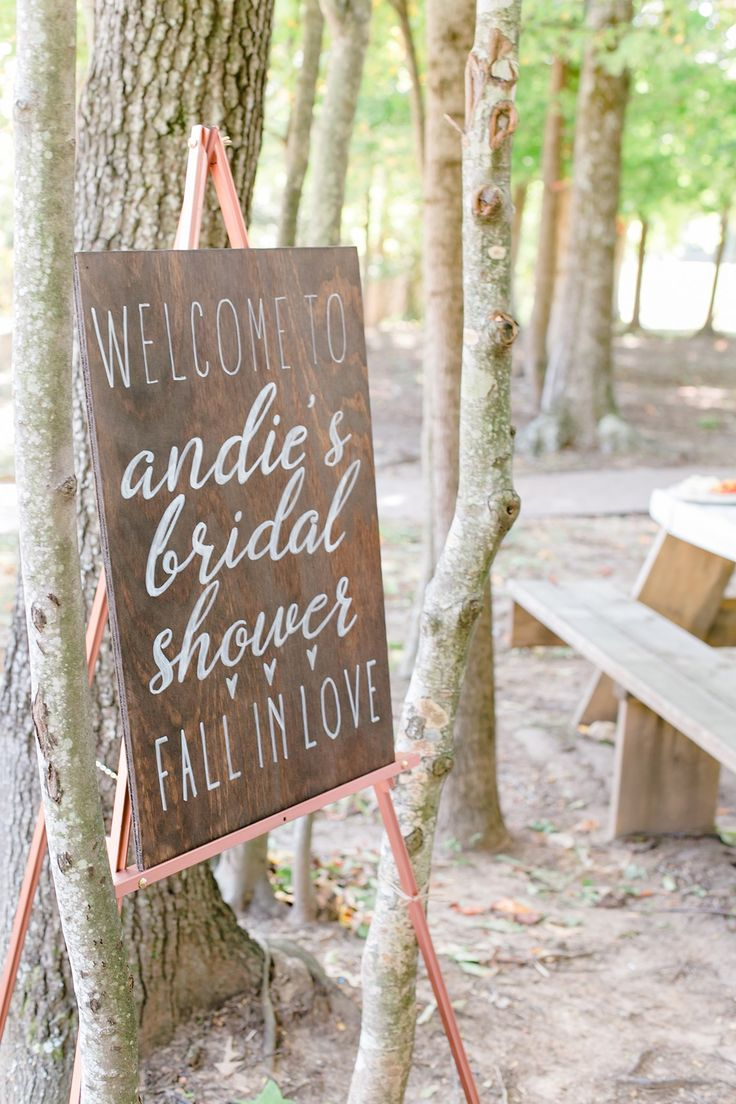 A Woodsy Winery Bridal Shower | A Woodsy Winery Bridal Shower | This bridal shower was set at Running Hare Vineyard right in the woods for a rustic feel. This wood bridal shower welcome sign with hand lettered calligraphy was the perfect extra touch. Click to see the full party. Ultimate Bridesmaid | Costola Photography