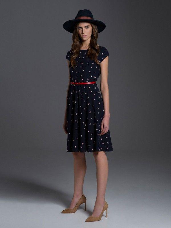 Granatowa sukienka we wzory L'AF MADDY