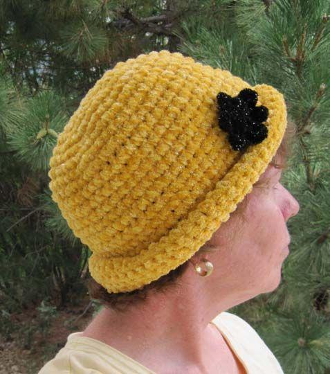 Free Knitting Pattern Baby Rolled Brim Hat : Free Crochet Chenille Glam Roll-Brim Hat Pattern. Free Crochet Womens ...