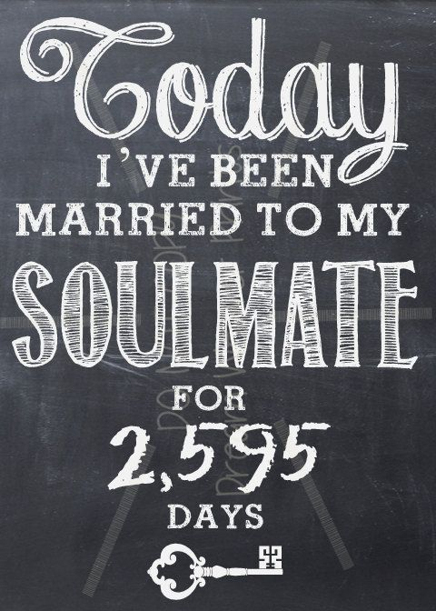 Wedding Anniversary SOULMATE printable chalkboard art LOVE Valentine Birthday. $6.00, via Etsy.
