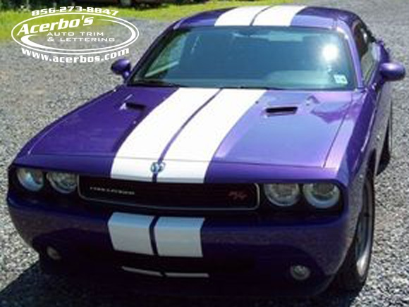 Purple Dodge Challenger With White Racing Stripe Graphics Installed ~  Acerbou0027s Auto Trim U0026 Lettering (