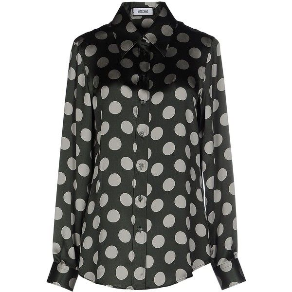 Moschino Shirt (21.715 RUB) ❤ liked on Polyvore featuring tops, dark green, spotted shirt, moschino top, shirt tops, long sleeve shirts and moschino shirt