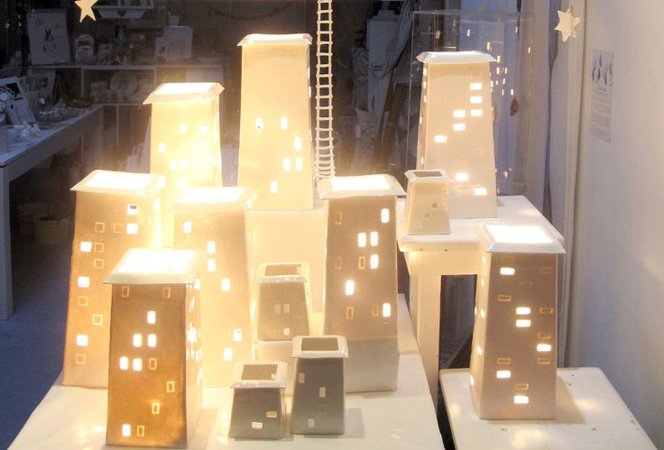 The Fringe Arts display, ceramic lights in paper clay , installation Belinda Ormond and Mine Jonker