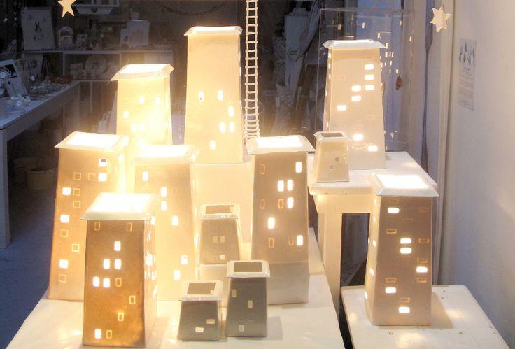 The Fringe Arts display, ceramic lights in paper clay , installation Belinda Ormond and Mine Jonker