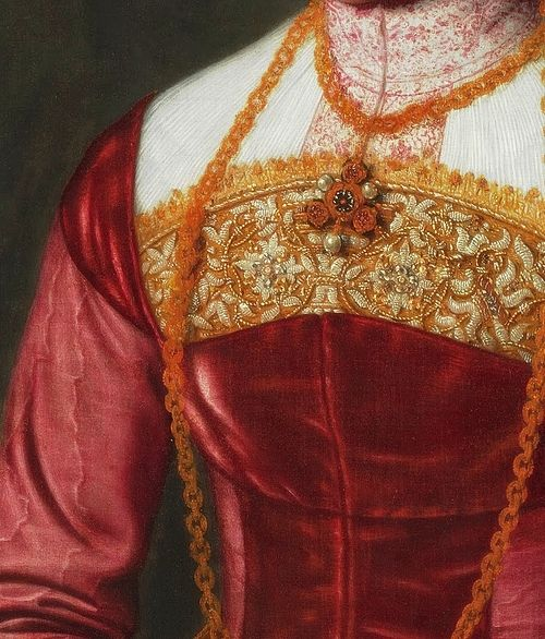 Portrait of a elderly Young Lady, Detail. (c. 1561) by Nicolas Neufchatel