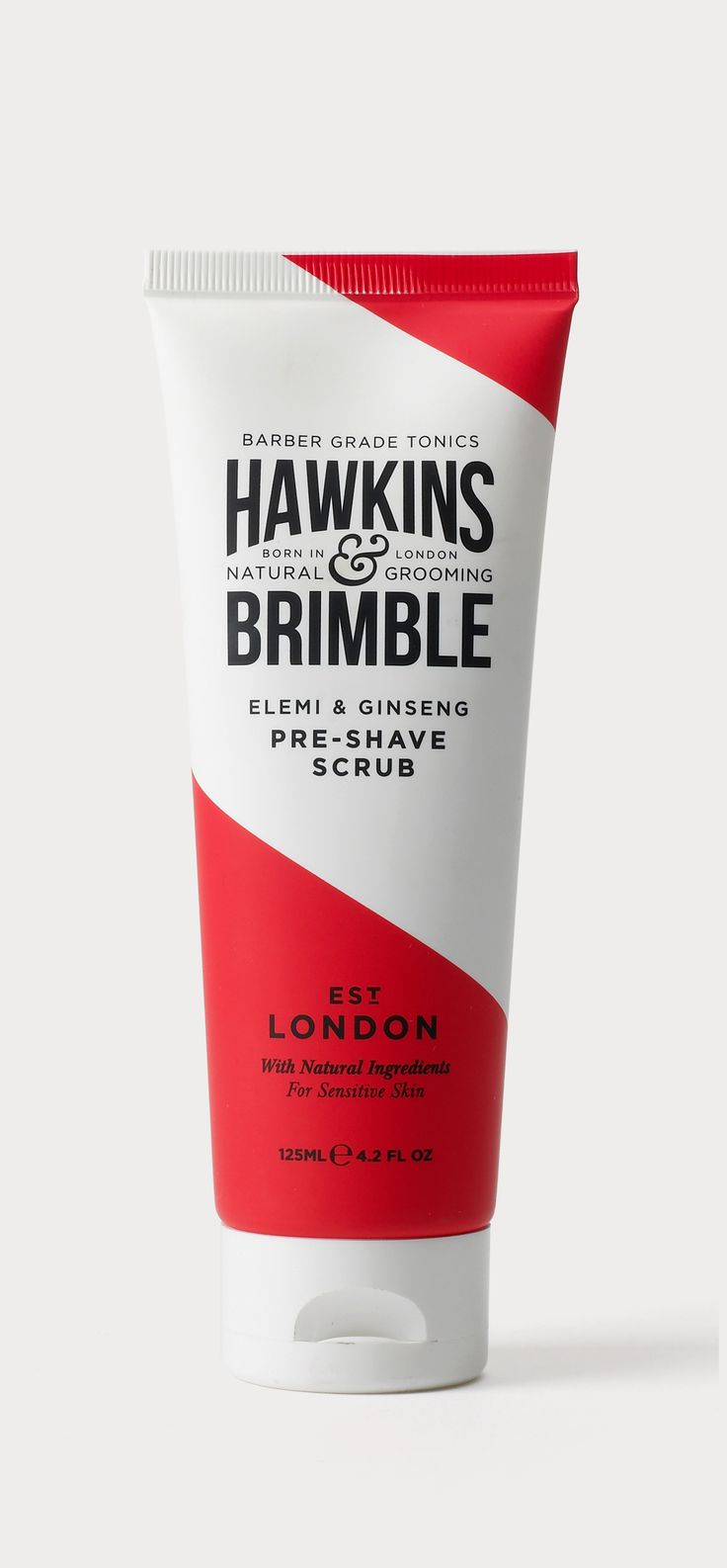 Brand identity and packaging design for Hawkins and Brimble. The brief was to design a mens grooming brand from the ground up. For the Hawkins & Brimble branding we developed a bespoke typography style based on beautiful vintage barber signage and branded stamps to give a sense of heritage and efficacy.  A vibrant flash of red cutting through the pack, indicative of traditional barber poles yet angular and tightly cropped, created a classic and fresh look.