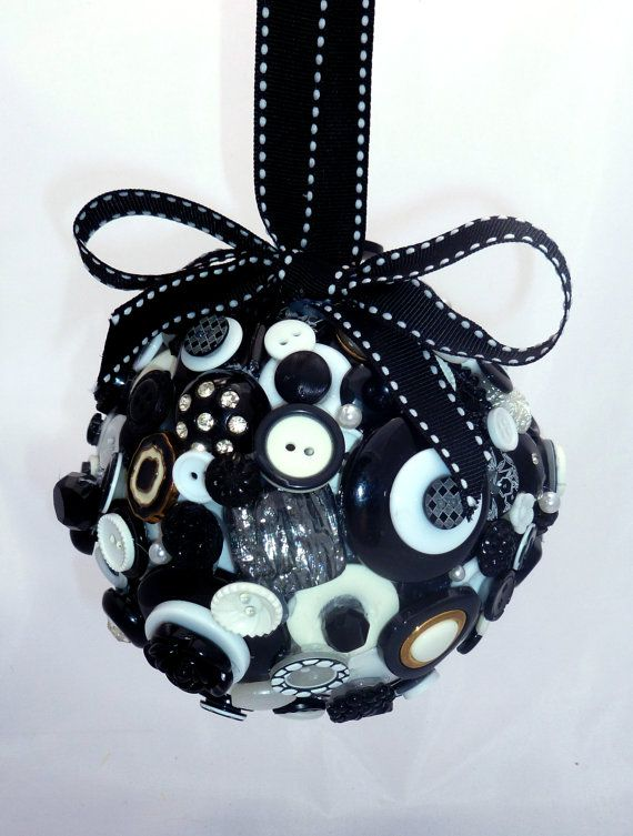 Button Art Museum .com - Tuxedo Royale Black and White Button Pomander. $45.00, via Etsy.