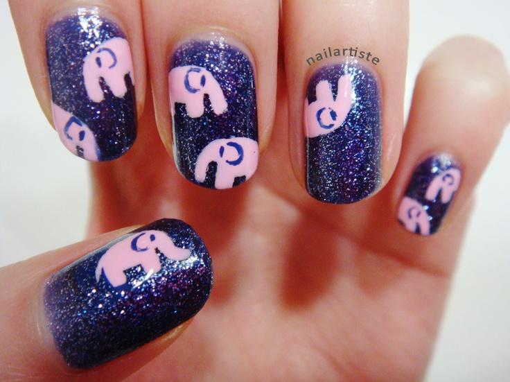 Pink Elephant Nail Art.