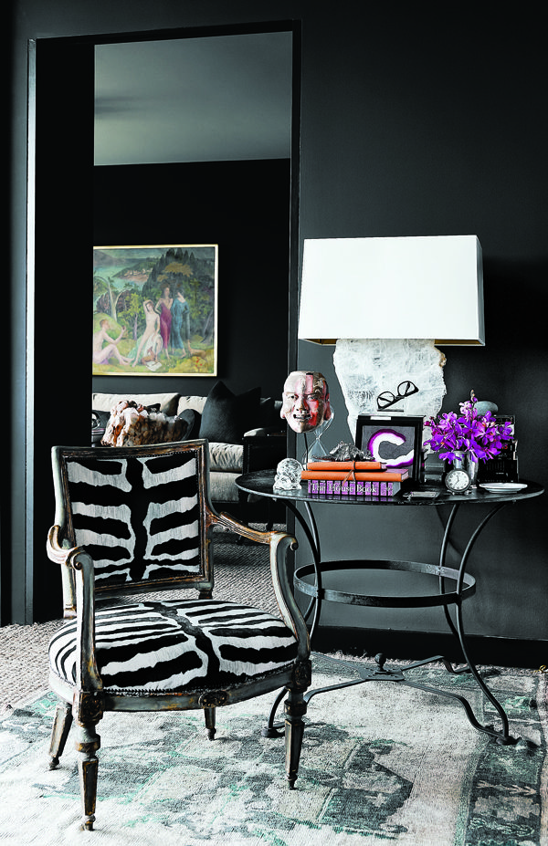 dark and lovely: Interior Design, Decor, Black Walls, Cathy Echols, Black Room, Interiors, Living Room, Animal Prints, Zebra Chair