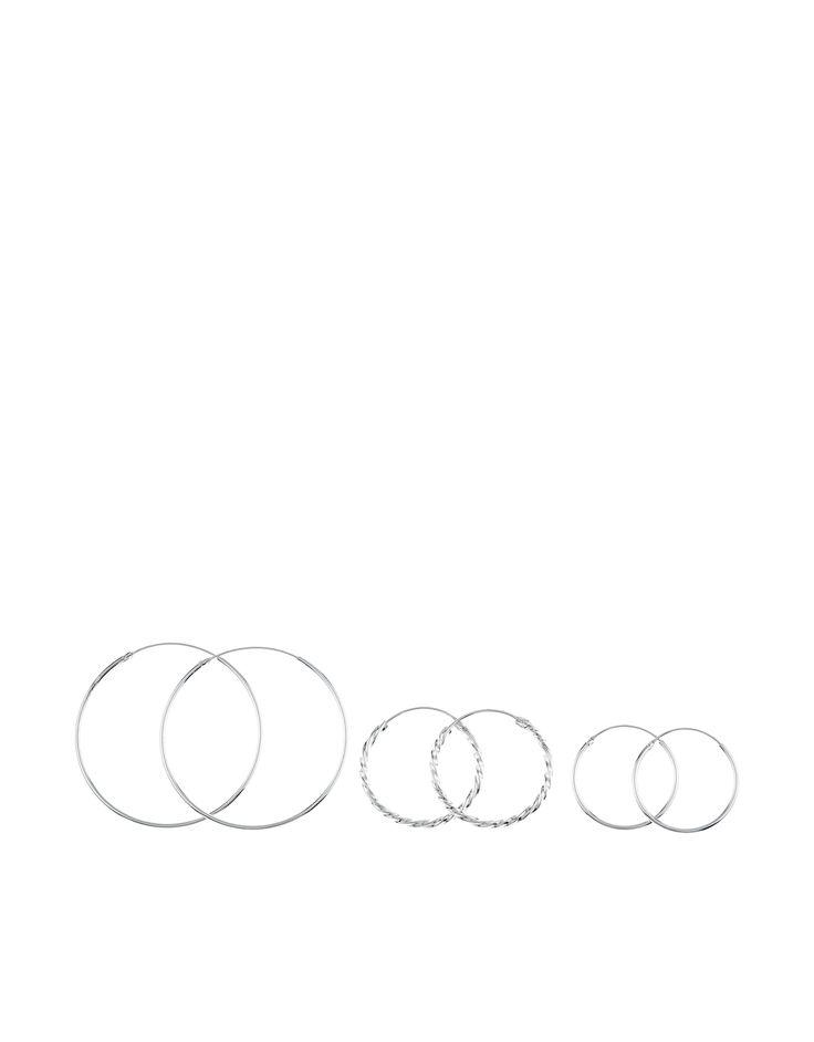 Sterling Silver 3 x Twisted Hoop Earrings