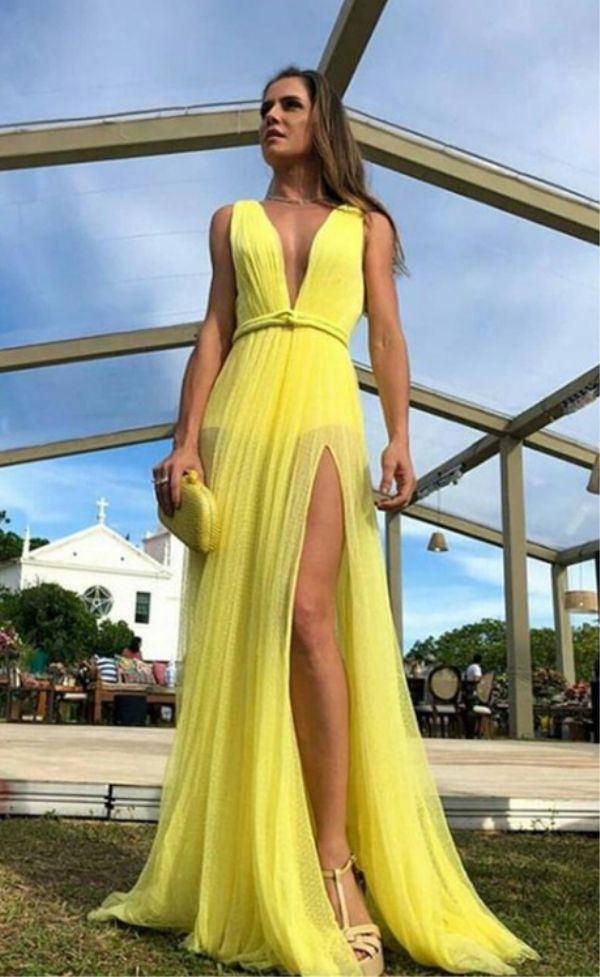 4b8851b948 A-Line Deep V-Neck Floor-Length Yellow Prom Party Dress with Split