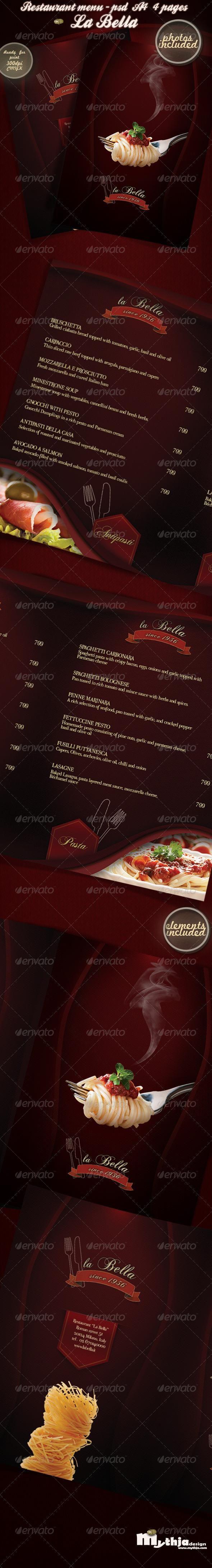 La Bella Restaurant Menu Photos