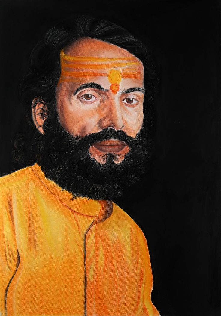 Humility   Immense humility in his eyes... A tenderness from where devotion arises... The tilak across his forehead... Signifies his identity and strength... His saffron attire, a symbol of his dharma... His meditation frees him of attachments and karma...  Size 28X40 Medium: Soft Pastels on Paper Price: 12,00,000/-