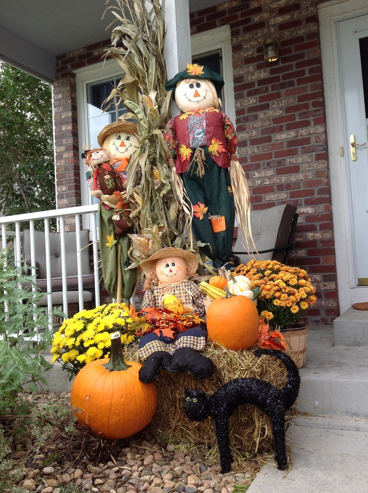 Decorating the porch for fall.