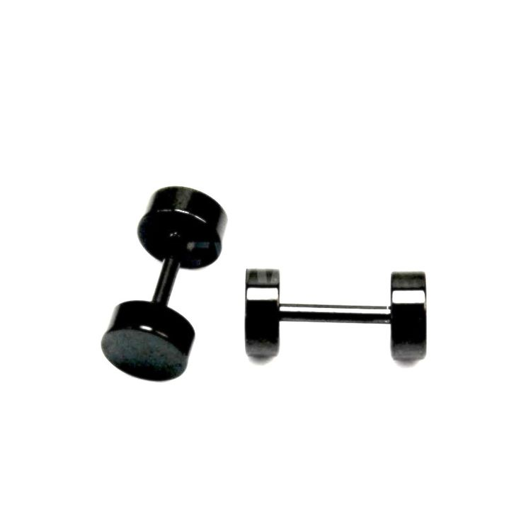 Unique Stainless Steel Black Small Stud Barbell Earrings One Pair