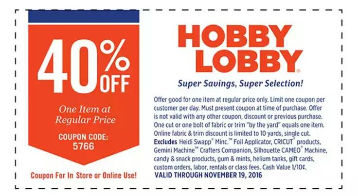 Hobby Lobby 40% Off Coupon