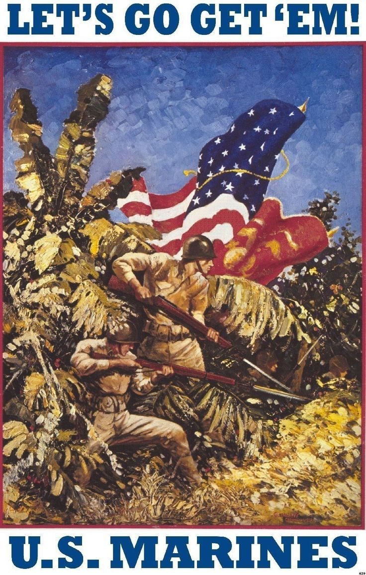 USMC Marine Corps Poster WWII Recruitment Pacific New Art Print by Guinness 629
