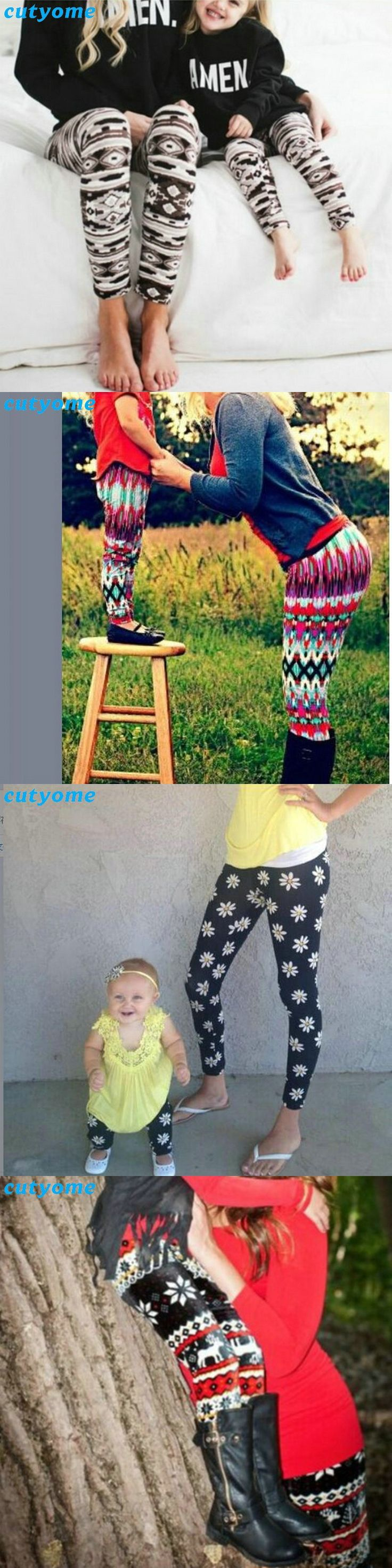 Cutyome Family Look Matching Mother Daughter Clothes Floral Woman Kids Girls Leggings Matching Elastic Pants Christmas Outfits