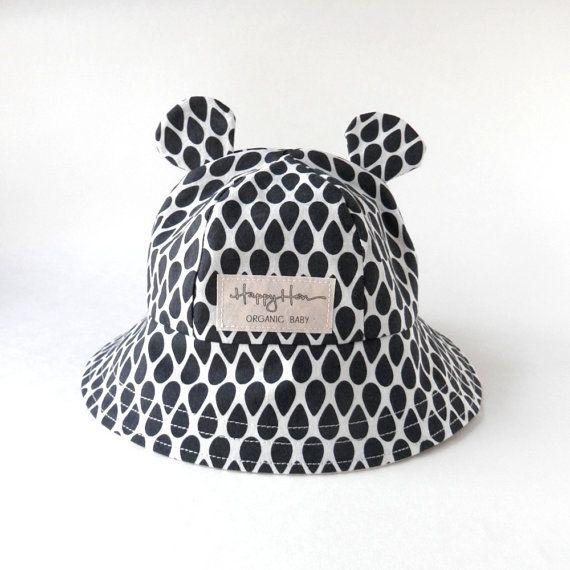 Baby Sonnenhut aus organischer Baumwolle, Baby tragen Ohr Sommer Hut & schwarz-weiß Teardrop, umweltfreundliche moderne junge oder Mädchen moderne Grafik Bucket Hat