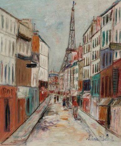 Rue Saint-Dominique et la Tour Eiffel par Maurice Utrillo