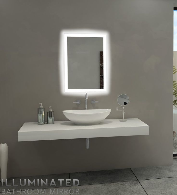 Backlit Bathroom Lighted Mirror Size H20 X W28 D2 Inches